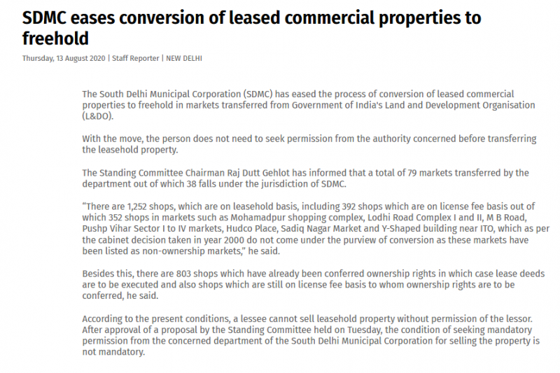 SDMC eases conversion of leased commercial properties to freehold