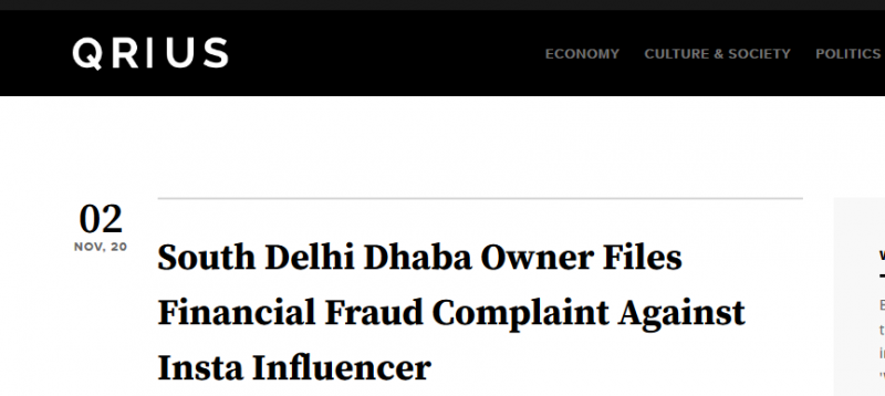 South Delhi Dhaba Owner Files Financial Fraud Complaint Against Insta Influencer