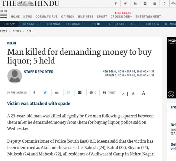 Man killed for demanding money to buy liquor; 5 held