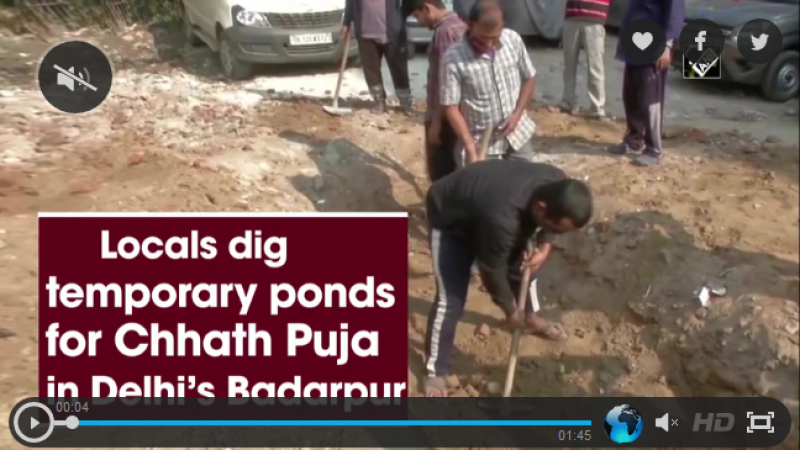 Locals dig temporary ponds for Chhath Puja in Delhi's Badarpur