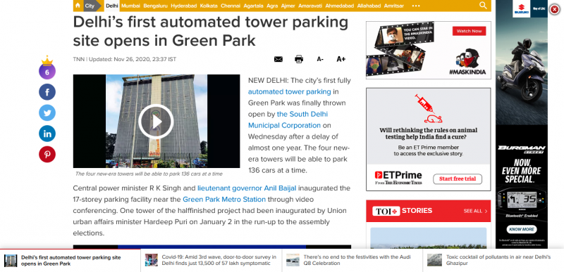 Delhi's first automated tower parking site opens in Green Park
