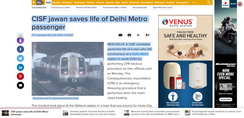 Delhi Metro News: CISF jawan saves life of Delhi Metro passenger