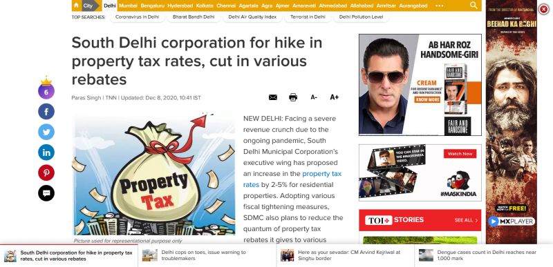 South Delhi corporation for hike in property tax rates, cut in various rebates