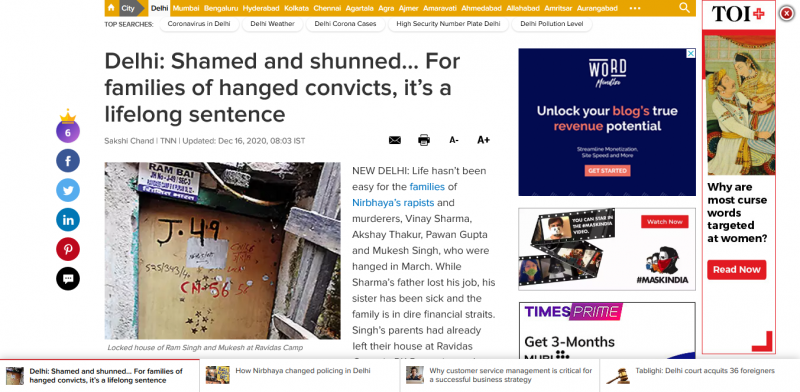 Delhi Shamed and shunned For families of hanged convicts it's a lifelong sentence Delhi News Times of India