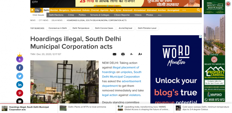 Hoardings illegal South Delhi Municipal Corporation acts