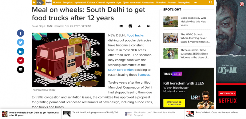 Meal on wheels South Delhi to get food trucks after 12 years