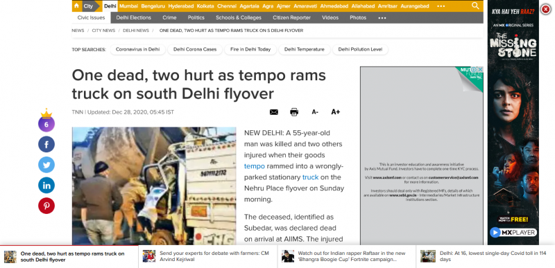 One dead two hurt as tempo rams truck on south Delhi flyover