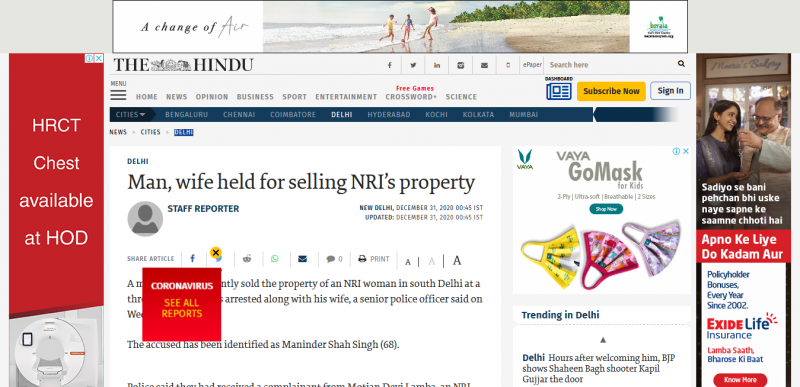 Man, wife held for selling NRI's property