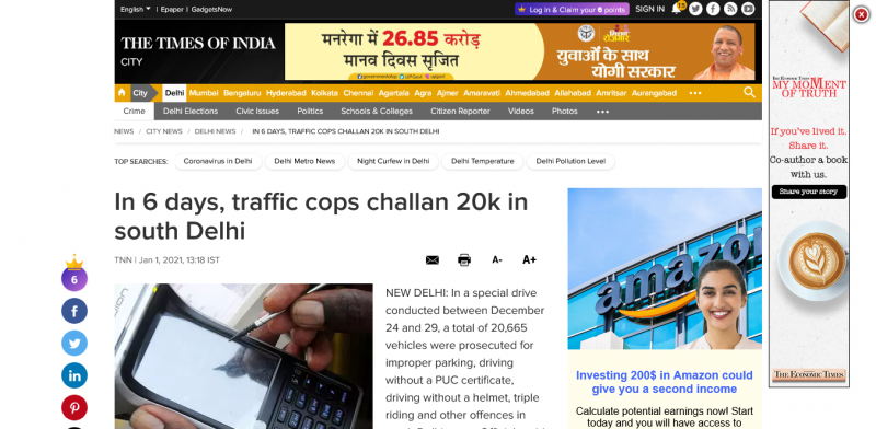 In 6 days, traffic cops challan 20k in south Delhi
