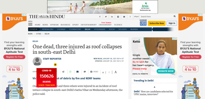 One dead, three injured as roof collapses in south-east Delhi