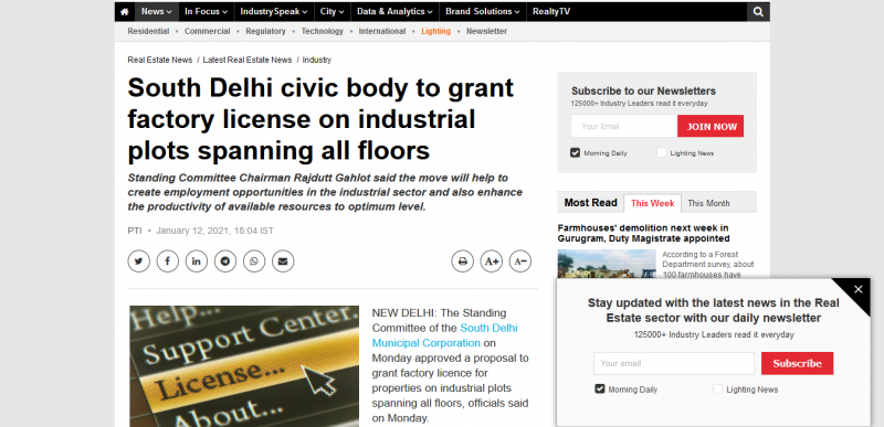 South Delhi civic body to grant factory license on industrial plots spanning all floors