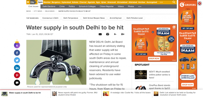 Water supply in south Delhi to be hit
