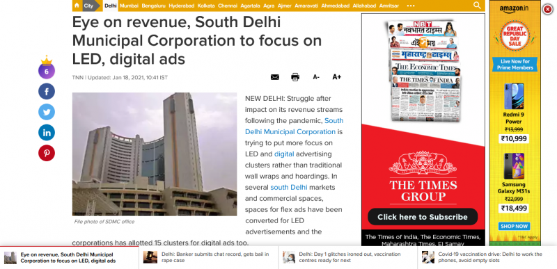 Eye on revenue, South Delhi Municipal Corporation to focus on LED, digital ads