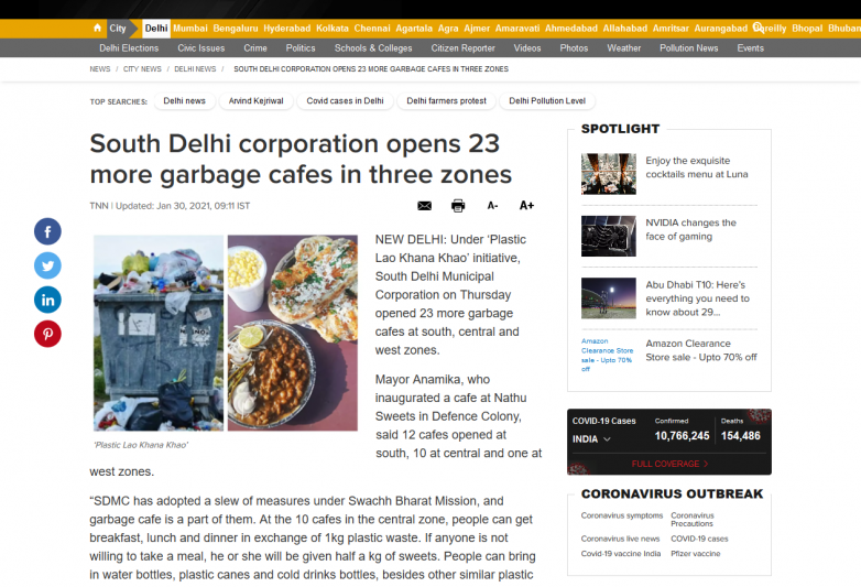 South Delhi corporation opens 23 more garbage cafes in three zones
