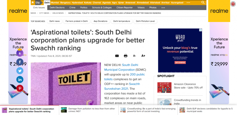 'Aspirational toilets': South Delhi corporation plans upgrade for better Swachh ranking