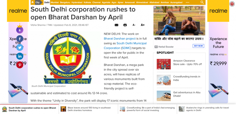 South Delhi corporation rushes to open Bharat Darshan by April