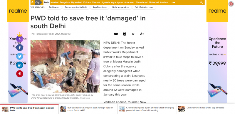 PWD told to save tree it 'damaged' in south Delhi