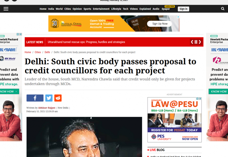 Delhi: South civic body passes proposal to credit councillors for each project