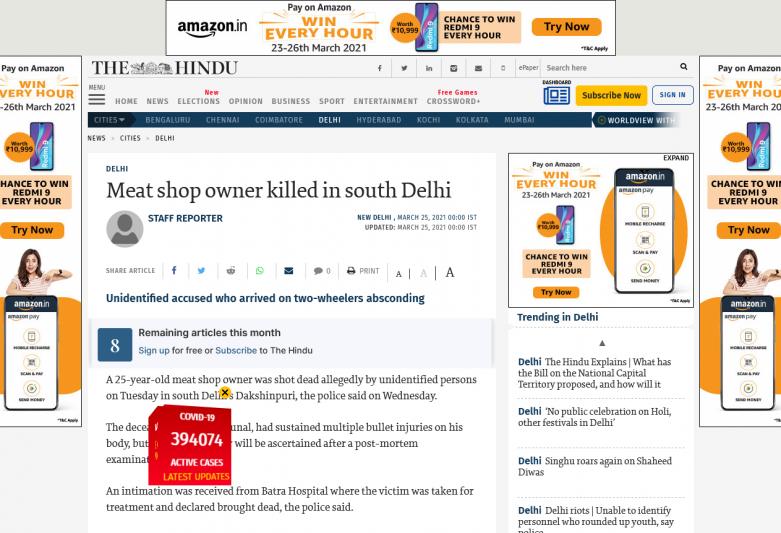 Meat shop owner killed in south Delhi