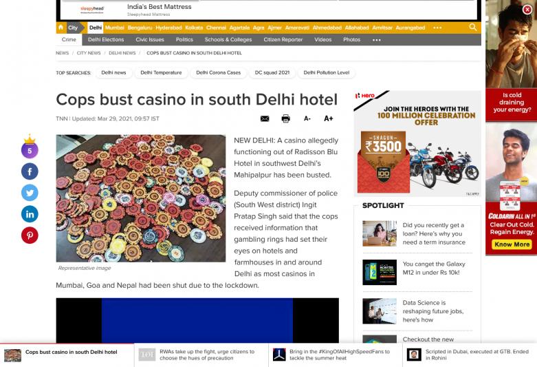 Cops bust casino in south Delhi hotel