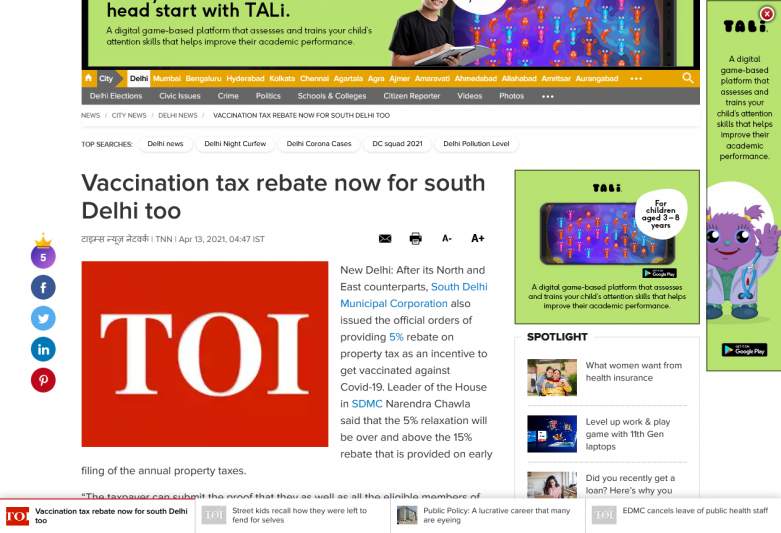 Vaccination tax rebate now for south Delhi too