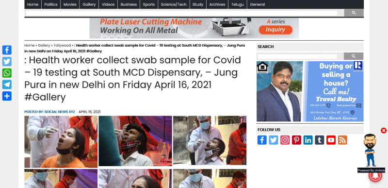 Health worker collect swab sample for Covid 19 testing at South MCD Dispensary, Jung Pura in new Delhi on Friday April 16, 2021