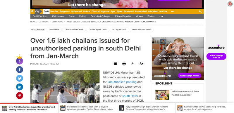 Over 1.6 lakh challans issued for unauthorised parking in south Delhi from Jan-March