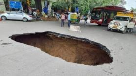Watch: Massive Chunk Of South Delhi Road Caves In, Traffic Disrupted